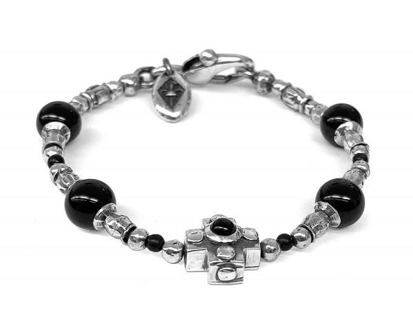 ARMBAND • Tubes & Plain Cross & Beads | Onyx