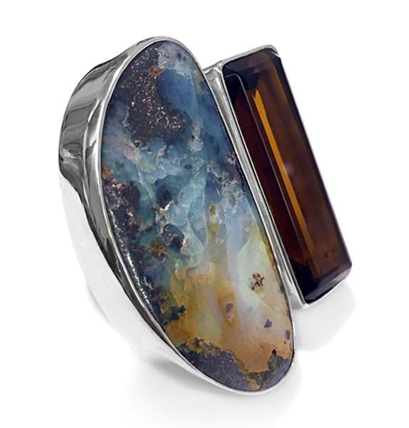 Steinring • Boulder Opal | Obidian