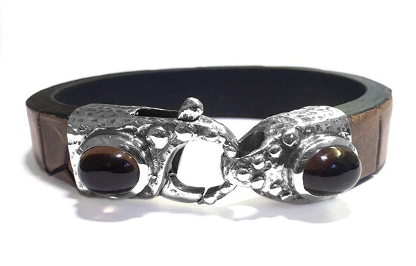 Armband • Lobster Claw Hammered & Oval Stones | Smoky Quarz