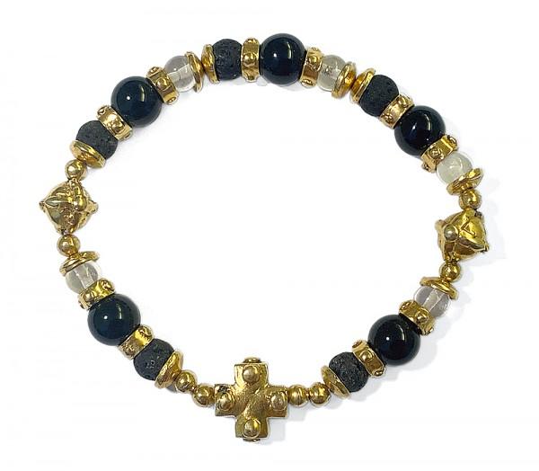 Armband • Beads & Plain Cross & Lance Cross & Rubber | Gold Plattiert | Onyx
