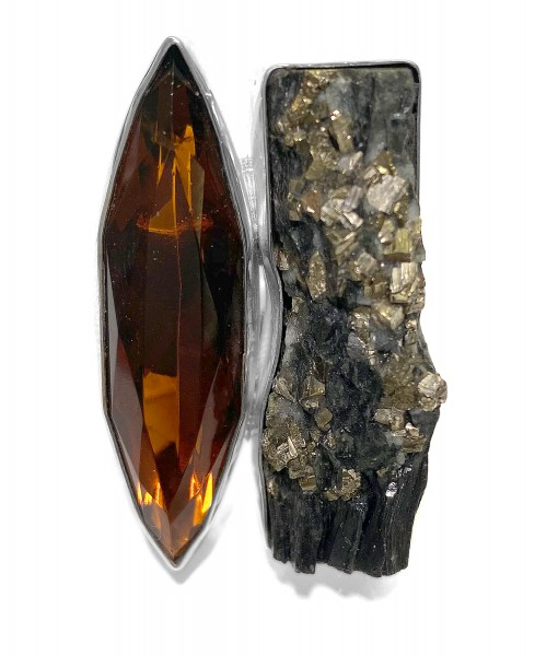 Steinring • Schieferpyrit | Obsidian