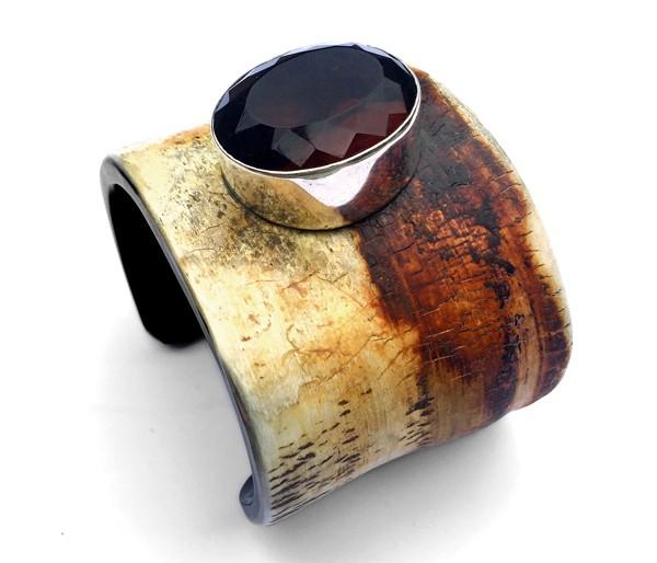 Armreif • Horn & Obsidian