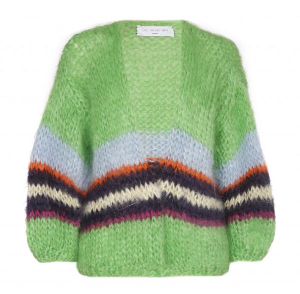 Strickjacke • Cardigan Short | Green Stripe