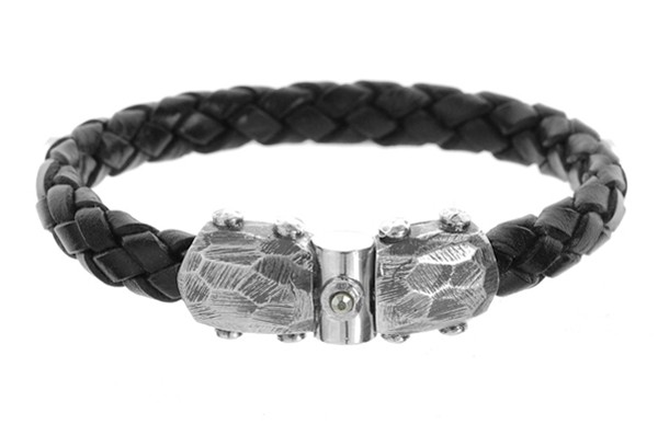 Armband • Leather Plain facetted Jointlock   Meteorite