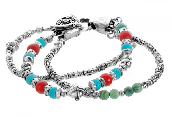 Armband • S-Beads & Plain Bars Cross | Turquoise