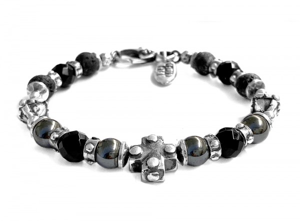 Armband • Beads & Plain Cross & Lance Onyx