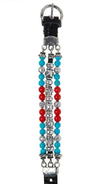 Armband • Beads & Pyramide Tubes | Silver Beads Halfround