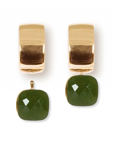 Creolen | Mila | Gold Plattiert • Facettiertes Quarzglas | Jade Milky