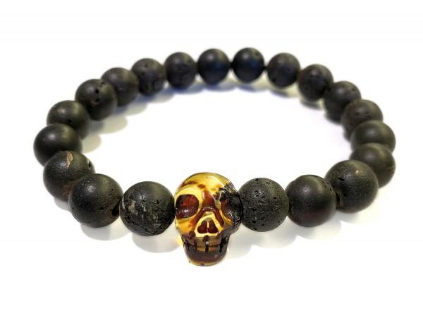 Steinarmband • Bernstein | Skull