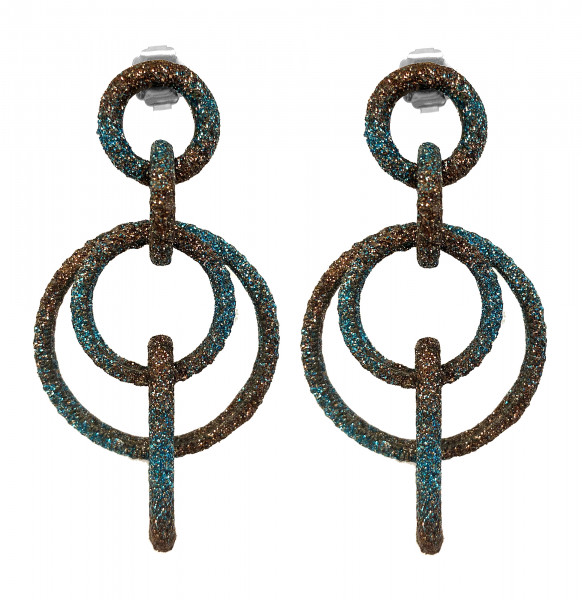 Ohrringe • KMO | Two Round Kamelite | Turquoise to Brown | Khaki to Peridot