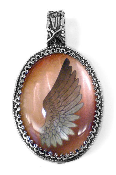 Anhänger L • Amulet | Peach Pearl Wing