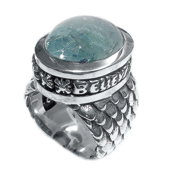 Ring • Believe in your Dreams | Dragon Scales Band | Aqua