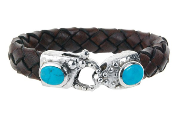 Armband • Lobster Claw Hammered & Oval Stone | Turquoise