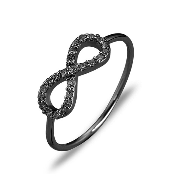Ring • Mini Infinity • Black Spinel | Black Plated