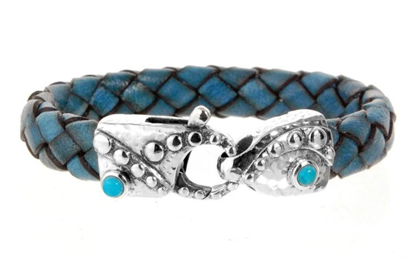 Armband • Lobster Claw Hammered & Round Stones | Turquoise