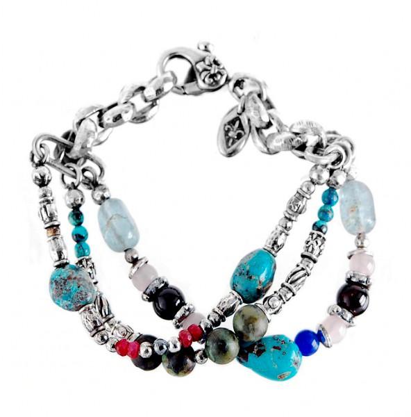Armband • Beads & Rocks & Silver Beads | Turquoise