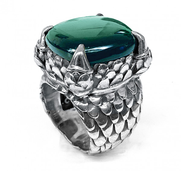 RING • Dragon Stone & Dragon Scales Band | 4 Claws | Green