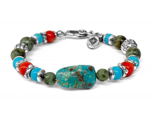 ARMBAND • Beads & Rock & Spiral & Dragonscales Balls   Turquoise