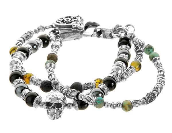 Armband • S-L Beads & Skull | Ham. + Beads + Tubes | 3-Reihig