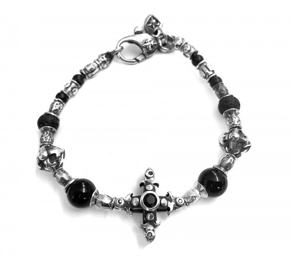 Armband • Tubes & Smith Cross | Beads & Blades Cross Balls | 4 black Diamonds