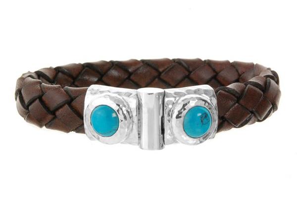 Armband • Hammered & Oval Stone | Turquoise