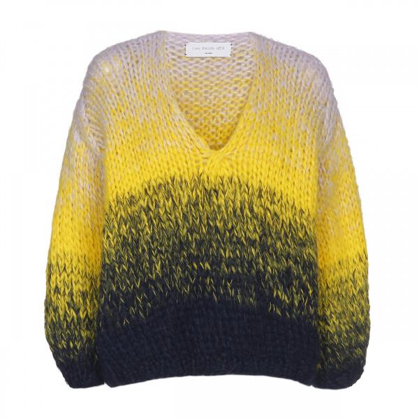 Strickpullover • V-Neck Short | Navy | Yellow | Lilac