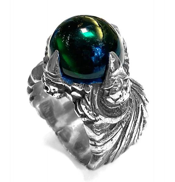 Ring • Magic Plant L Band & Dragon Claw Stoneholder   Green Zirconia