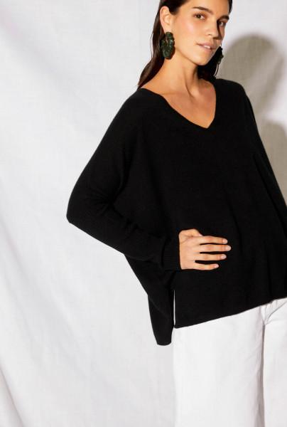 Pullover • Cashmere | Faustine Jumper Poncho | Noir | Azur