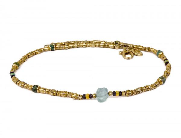 Halskette • Tubes Rough & Stones | Gold Plattiert