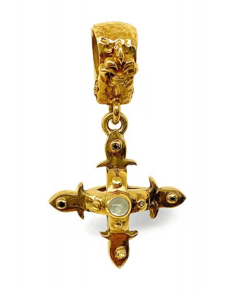 Anhänger • Smith Cross | Body & Stones | 4 Small Diamonds | Gold Plated