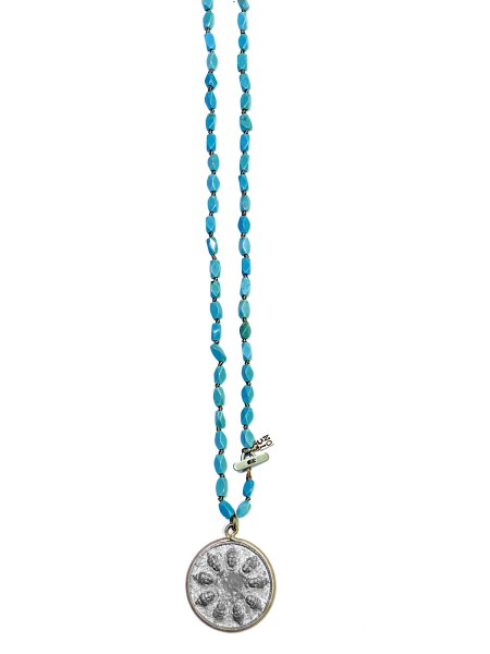 ICON • Kette BUDDHA40 in Tin | Turquoise