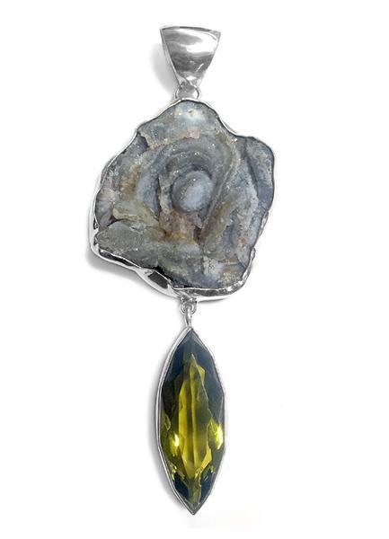 Steinanhänger • Chalcedon-Rosette   Obsidian