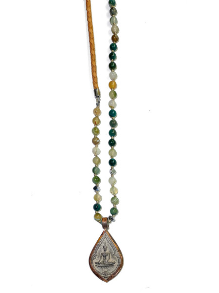 ICON • Kette Buddha46 Leather | Green Agate