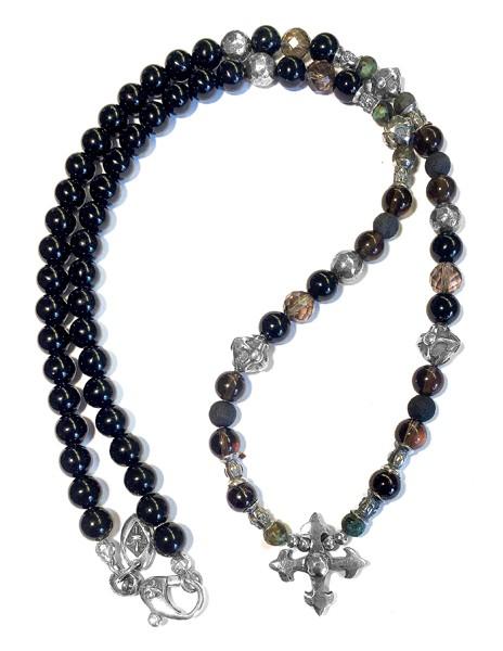 Halskette • Beads & Fac. Blades Cross + Cross Ball & Tubes