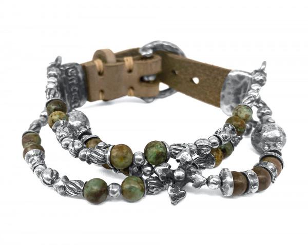 Armband • S-L-Beads & Blades Cross Ball & Silver Beads