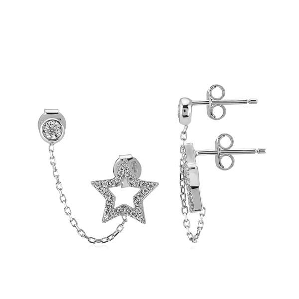 Ohrring • Star   Chain   Rhodiniert