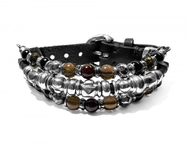 Armband • Beads & Pyramide Tubes | Silver Beads Halfround | Fac. Buckle