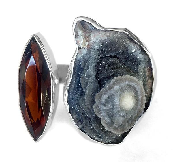 Steinring • Chalcedon-Rosette | Obsidian
