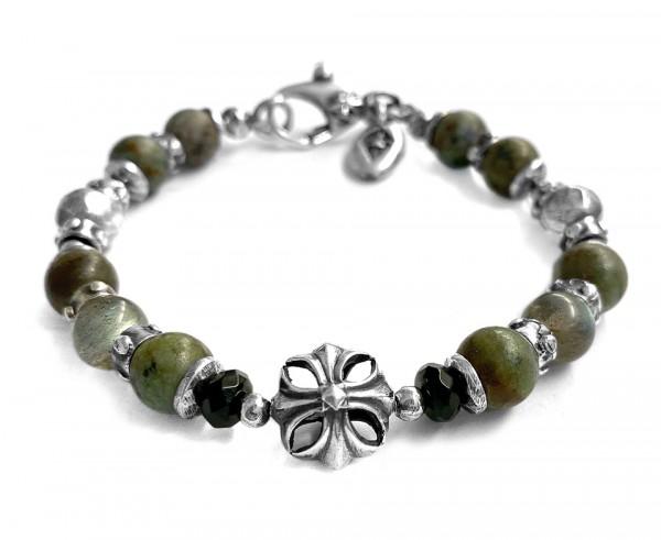 Armband • Beads & Malteser Cross   Ball African Turquoise